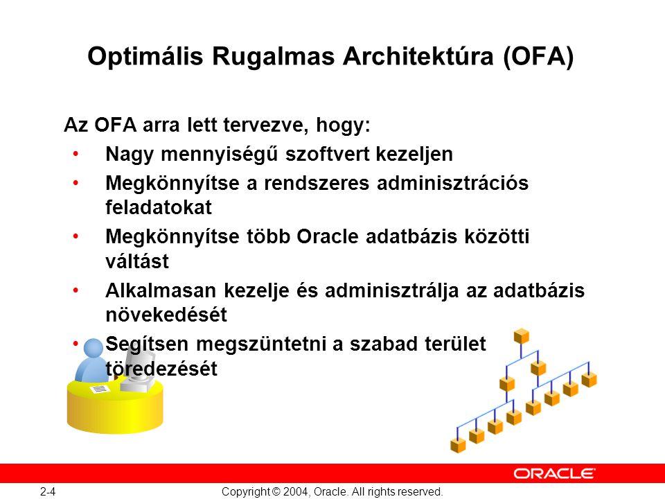 2-4 Copyright © 2004, Oracle. All rights reserved. Optimális Rugalmas Architektúra (OFA) Az OFA arra lett tervezve, hogy: Nagy mennyiségű szoftvert ke