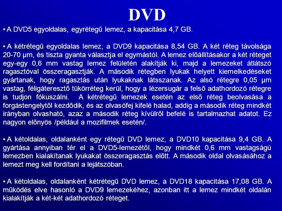 DVD A DVD5 egyoldalas, egyrétegű lemez, a kapacitása 4,7 GB. A kétrétegű egyoldalas lemez, a DVD9 kapacitása 8,54 GB. A két réteg távolsága 20-70 µm,