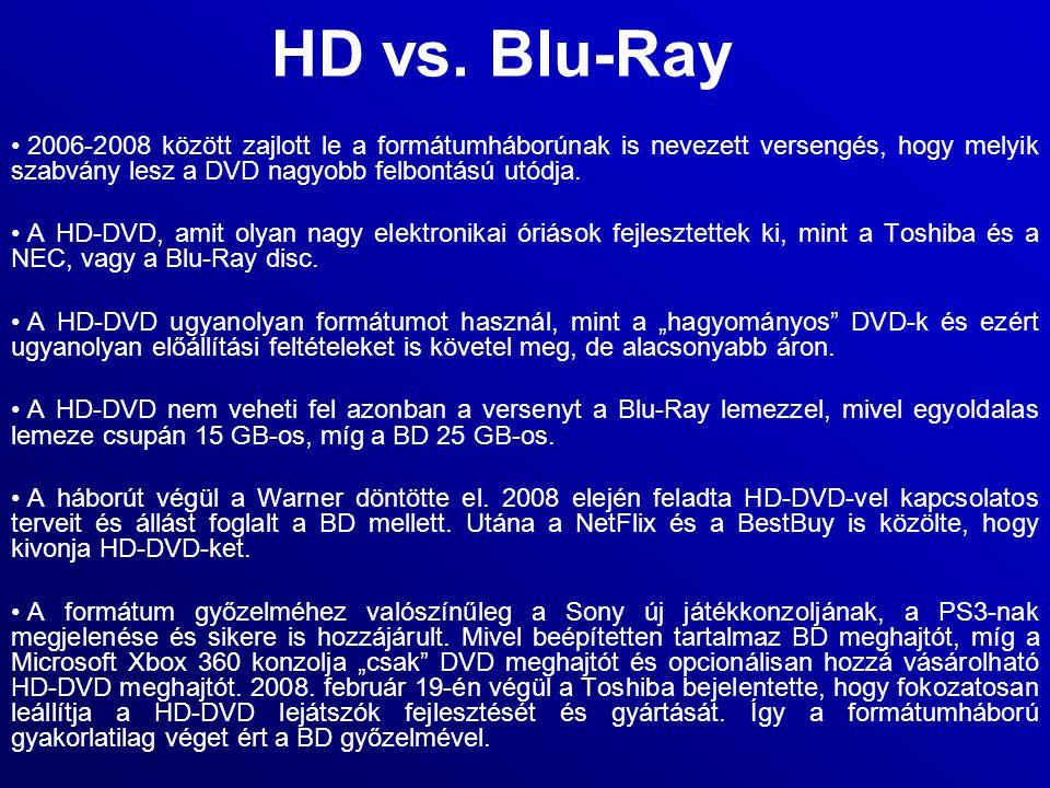 HD vs. Blu-Ray 2006-2008 között zajlott le a formátumháborúnak is nevezett versengés, hogy melyik szabvány lesz a DVD nagyobb felbontású utódja. A HD-