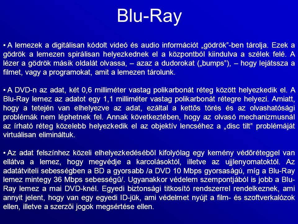 """Blu-Ray A lemezek a digitálisan kódolt videó és audio információt """"gödrök""""-ben tárolja. Ezek a gödrök a lemezen spirálisan helyezkednek el a központbó"""