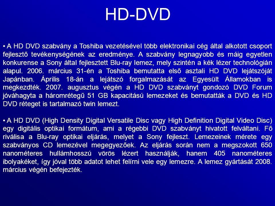 HD-DVD A HD DVD szabvány a Toshiba vezetésével több elektronikai cég által alkotott csoport fejlesztő tevékenységének az eredménye. A szabvány legnagy