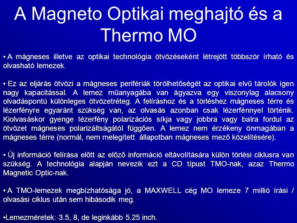 A Magneto Optikai meghajtó és a Thermo MO A mágneses illetve az optikai technológia ötvözéseként létrejött többször írható és olvasható lemezek. Ez az