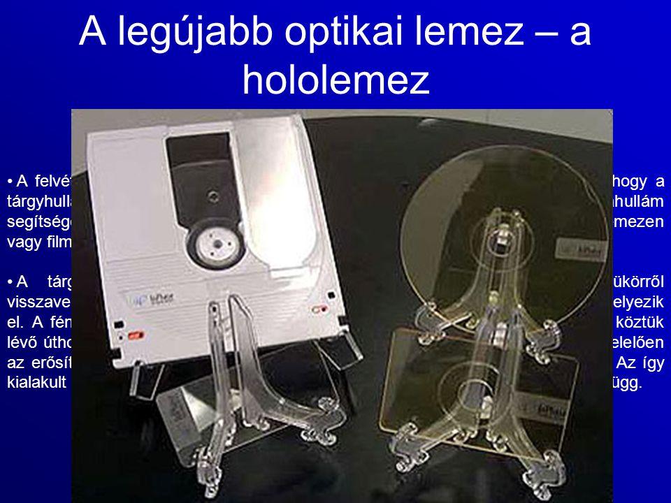 A legújabb optikai lemez – a hololemez A felvétel lényege a tárgyról kiinduló hullámfront rögzítése. Ez úgy történik, hogy a tárgyhullám és egy vele k