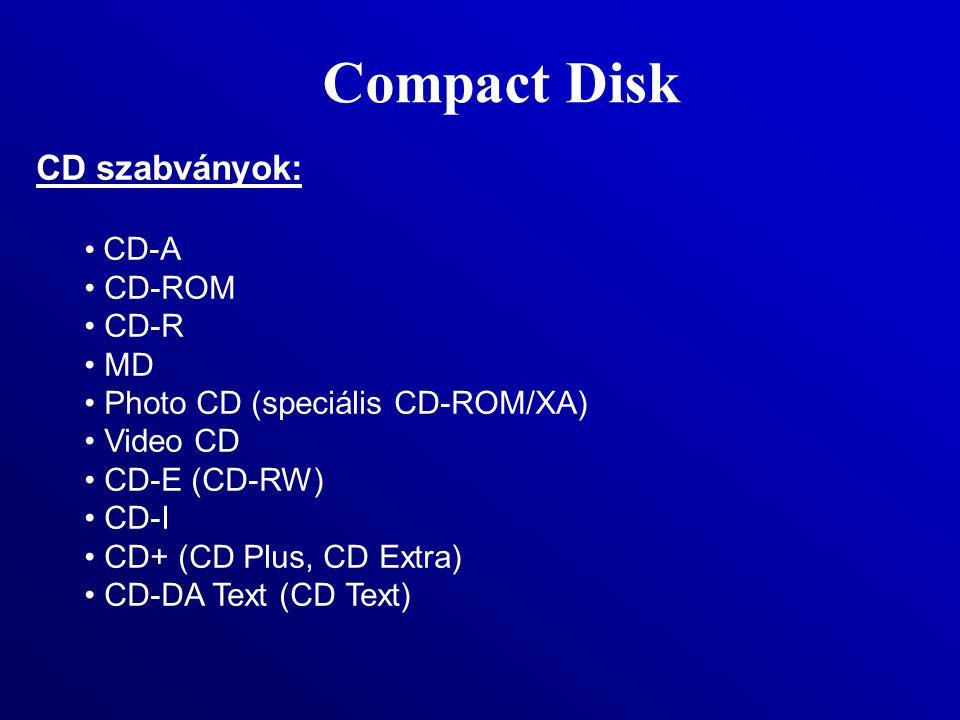 Compact Disk CD szabványok: CD-A CD-ROM CD-R MD Photo CD (speciális CD-ROM/XA) Video CD CD-E (CD-RW) CD-I CD+ (CD Plus, CD Extra) CD-DA Text (CD Text)