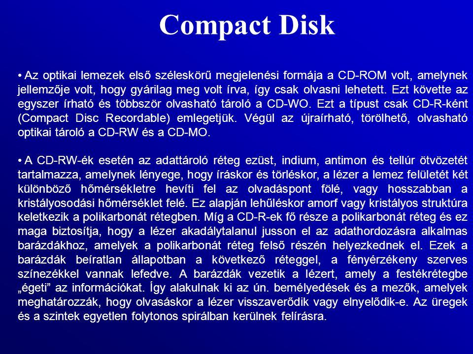 Compact Disk Az optikai lemezek első széleskörű megjelenési formája a CD-ROM volt, amelynek jellemzője volt, hogy gyárilag meg volt írva, így csak olv
