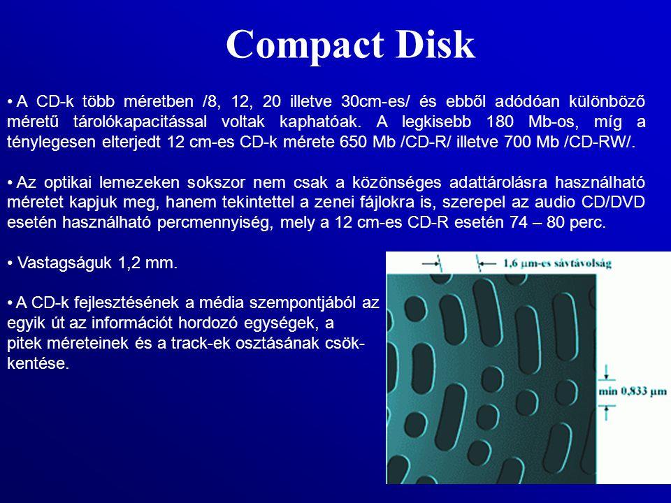 Compact Disk A CD-k több méretben /8, 12, 20 illetve 30cm-es/ és ebből adódóan különböző méretű tárolókapacitással voltak kaphatóak. A legkisebb 180 M