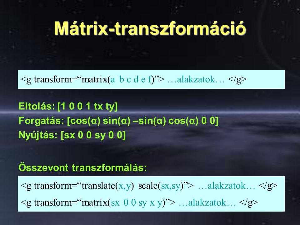 Mátrix-transzformáció Összevont transzformálás: …alakzatok… Eltolás: [1 0 0 1 tx ty] Forgatás: [cos(α) sin(α) –sin(α) cos(α) 0 0] Nyújtás: [sx 0 0 sy 0 0]