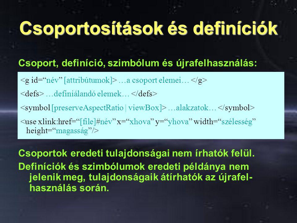 Csoportosítások és definíciók …a csoport elemei… …definiálandó elemek… …alakzatok… Csoport, definíció, szimbólum és újrafelhasználás: Csoportok eredeti tulajdonságai nem írhatók felül.