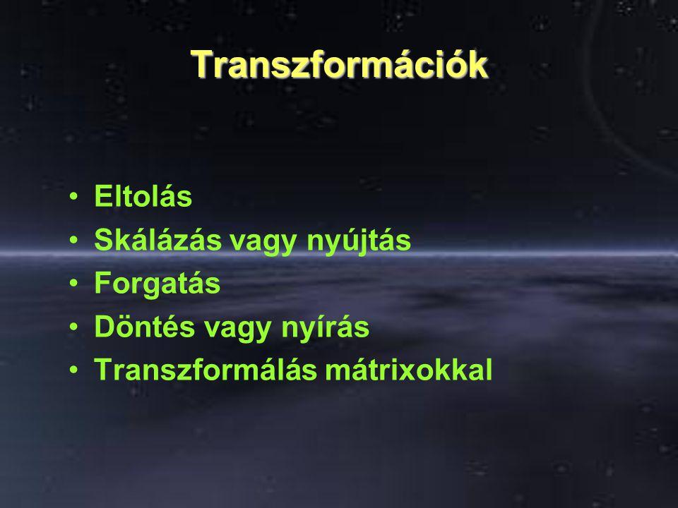 Transzformációk Eltolás Skálázás vagy nyújtás Forgatás Döntés vagy nyírás Transzformálás mátrixokkal