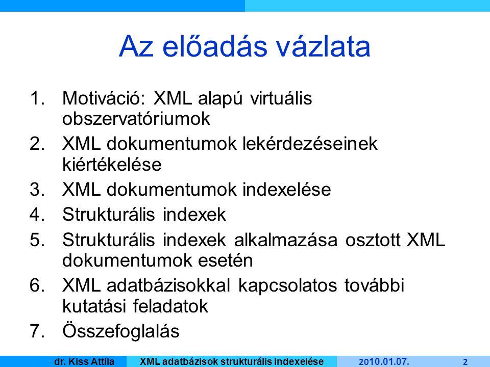 Master Informatique 20 10.01. 07. 23 dr. Kiss AttilaXML adatbázisok strukturális indexelése 3.