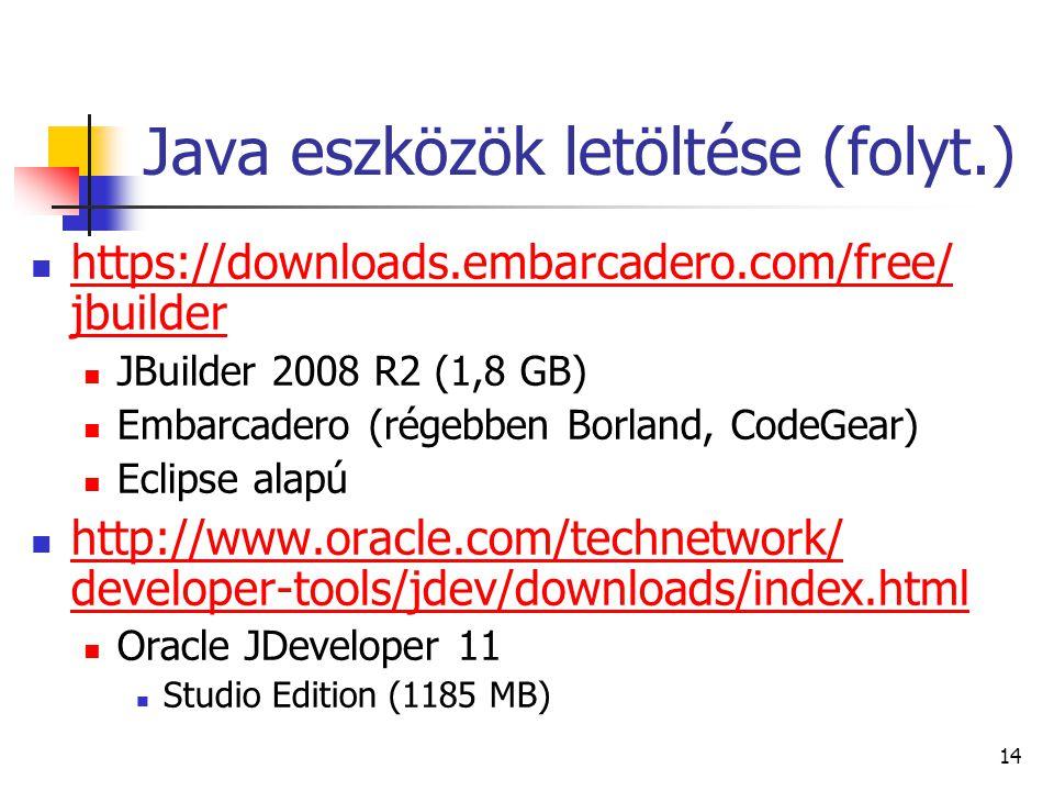 14 Java eszközök letöltése (folyt.) https://downloads.embarcadero.com/free/ jbuilder https://downloads.embarcadero.com/free/ jbuilder JBuilder 2008 R2