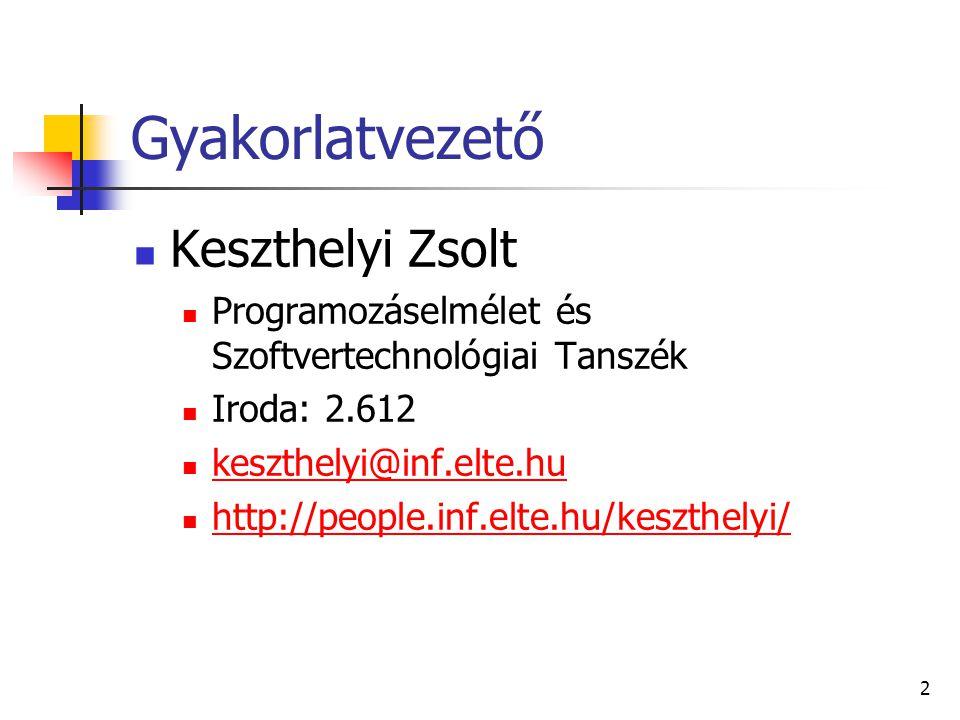 2 Gyakorlatvezető Keszthelyi Zsolt Programozáselmélet és Szoftvertechnológiai Tanszék Iroda: 2.612 keszthelyi@inf.elte.hu http://people.inf.elte.hu/ke