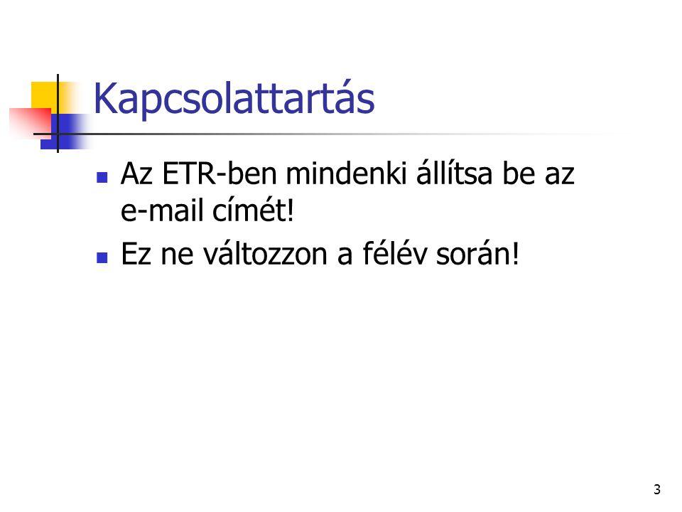Kapcsolattartás Az ETR-ben mindenki állítsa be az e-mail címét! Ez ne változzon a félév során! 3