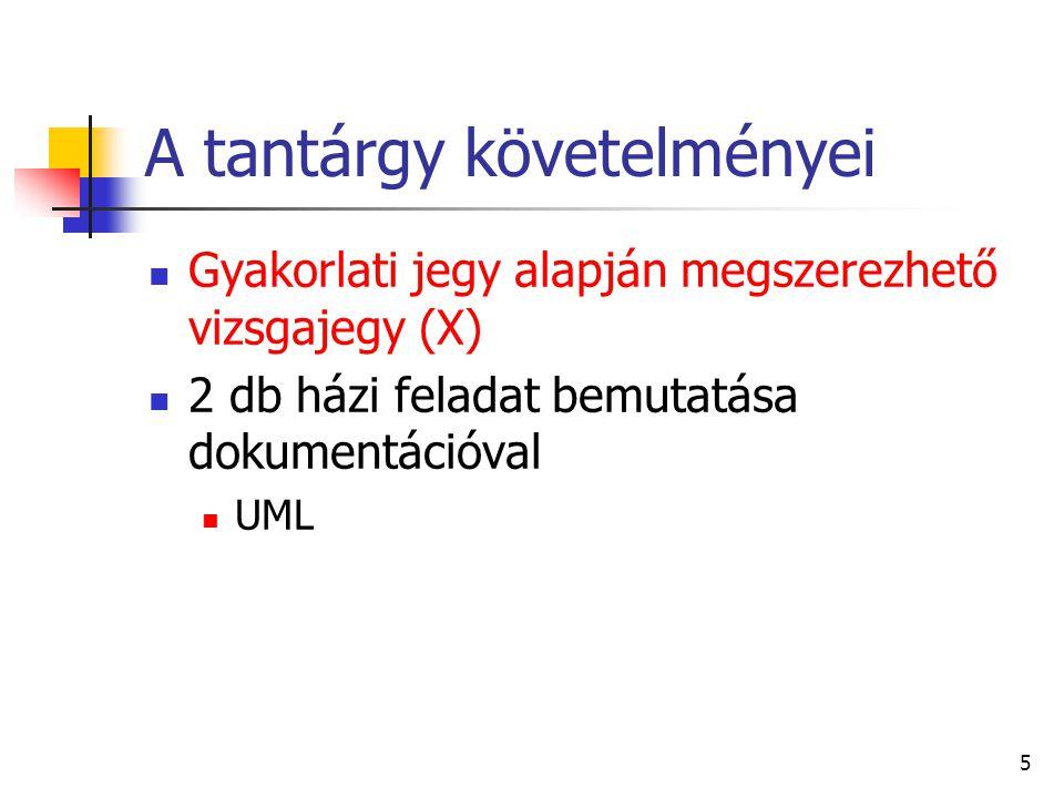 5 A tantárgy követelményei Gyakorlati jegy alapján megszerezhető vizsgajegy (X) 2 db házi feladat bemutatása dokumentációval UML