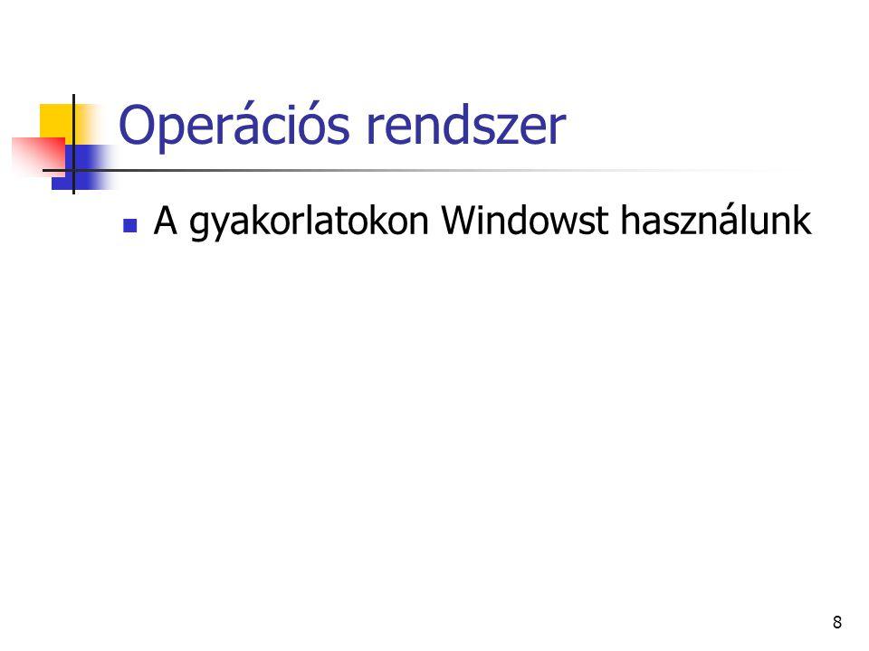 Operációs rendszer A gyakorlatokon Windowst használunk 8