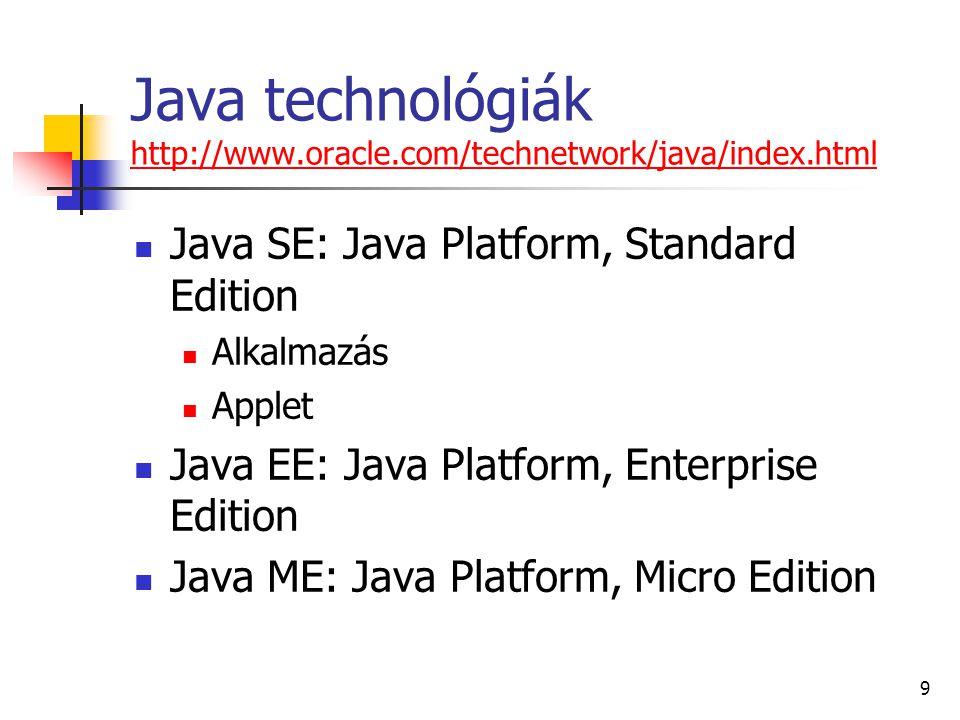 10 Java SE Fejlesztő- és futtató rendszer JDK: Java SE Development Kit Parancssoros eszközök fordítóprogram (javac.exe) futtatóprogram (java.exe) interpreter (JVM: Java Virtual Machine) JRE: Java SE Runtime Environment API: Application Programming Interface osztálykönyvtár (framework) futtatóprogram (java.exe)