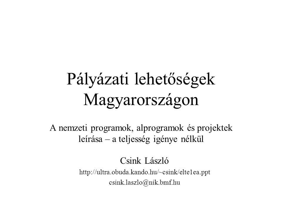 Pályázati lehetőségek Magyarországon A nemzeti programok, alprogramok és projektek leírása – a teljesség igénye nélkül Csink László http://ultra.obuda.kando.hu/~csink/elte1ea.ppt csink.laszlo@nik.bmf.hu