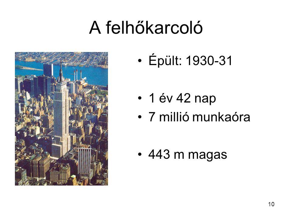 10 A felhőkarcoló Épült: 1930-31 1 év 42 nap 7 millió munkaóra 443 m magas