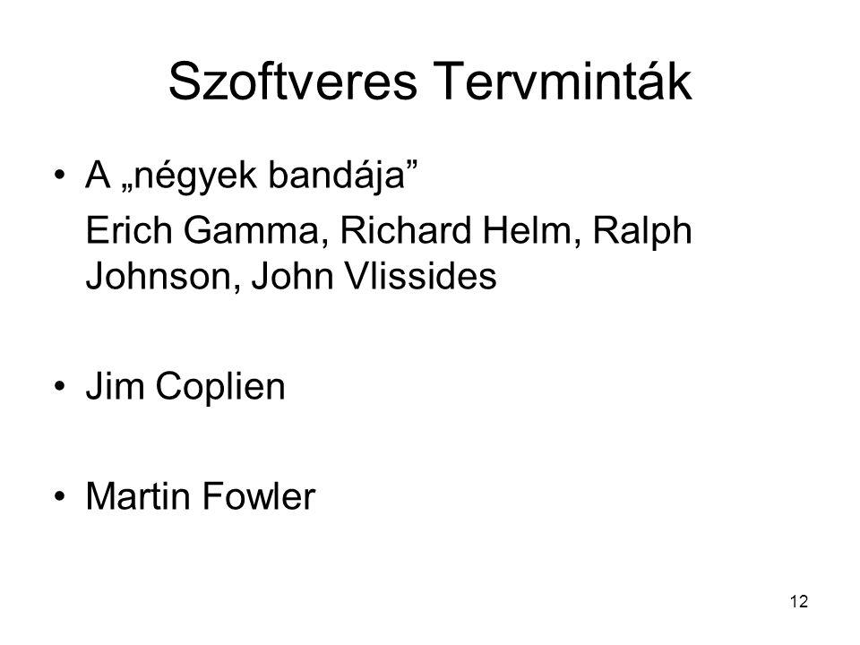 """12 Szoftveres Tervminták A """"négyek bandája Erich Gamma, Richard Helm, Ralph Johnson, John Vlissides Jim Coplien Martin Fowler"""
