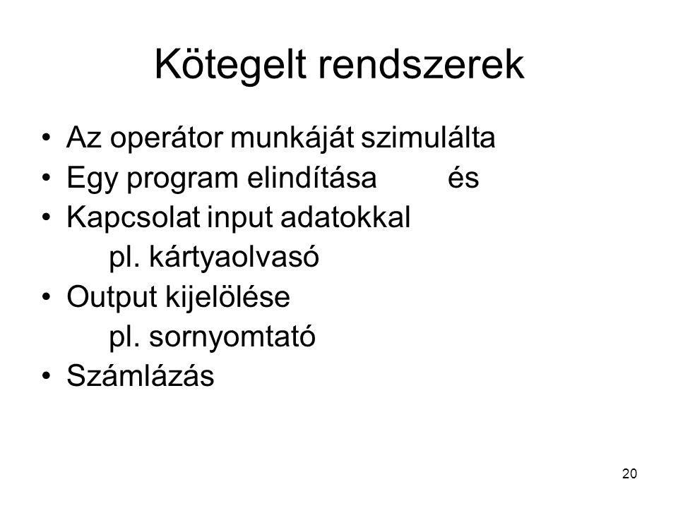 20 Kötegelt rendszerek Az operátor munkáját szimulálta Egy program elindítása és Kapcsolat input adatokkal pl.