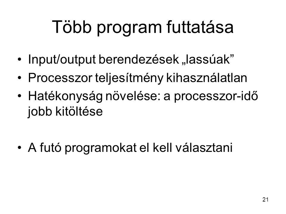 """21 Több program futtatása Input/output berendezések """"lassúak Processzor teljesítmény kihasználatlan Hatékonyság növelése: a processzor-idő jobb kitöltése A futó programokat el kell választani"""