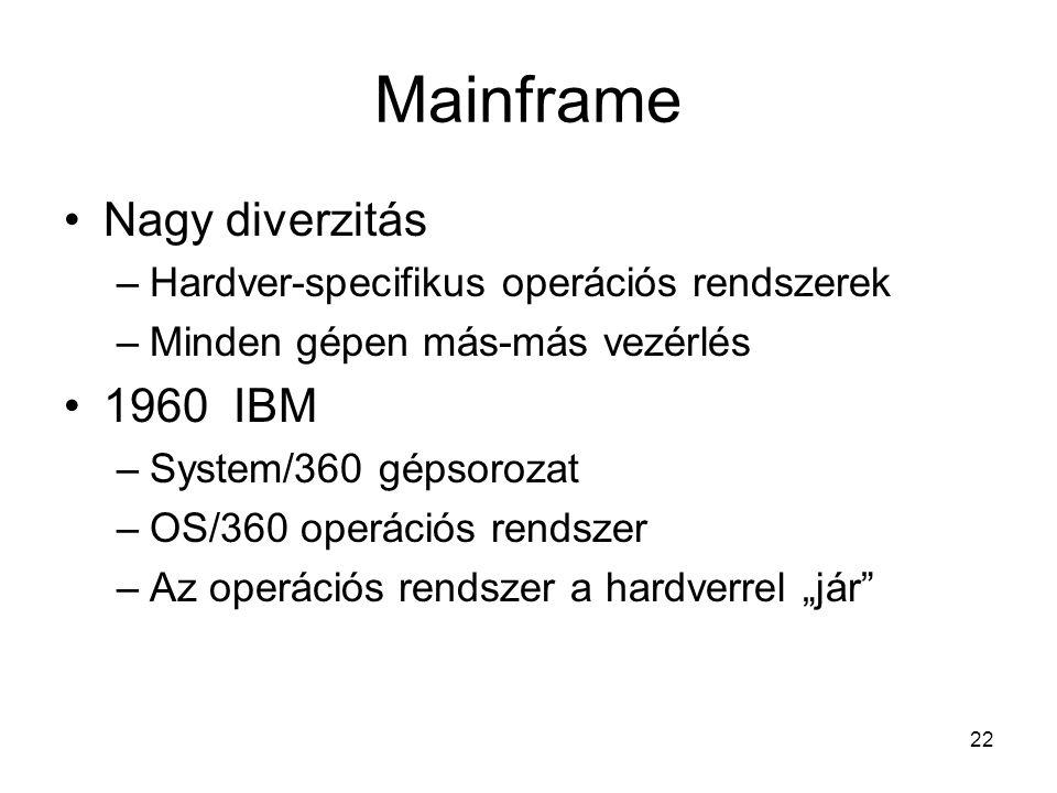 """22 Mainframe Nagy diverzitás –Hardver-specifikus operációs rendszerek –Minden gépen más-más vezérlés 1960 IBM –System/360 gépsorozat –OS/360 operációs rendszer –Az operációs rendszer a hardverrel """"jár"""