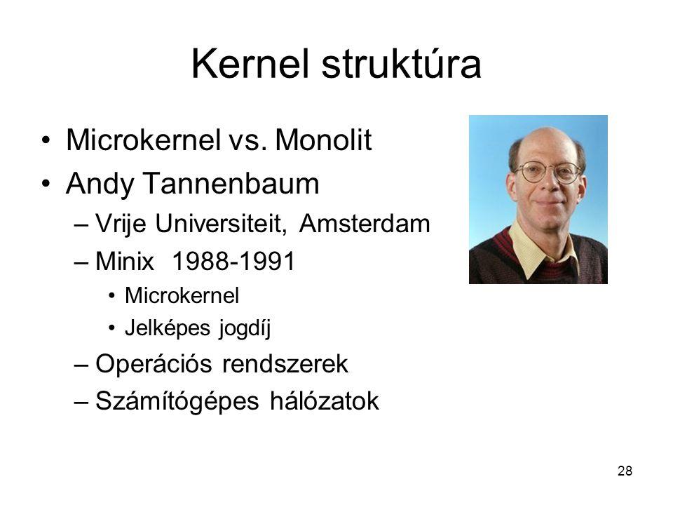 28 Kernel struktúra Microkernel vs.