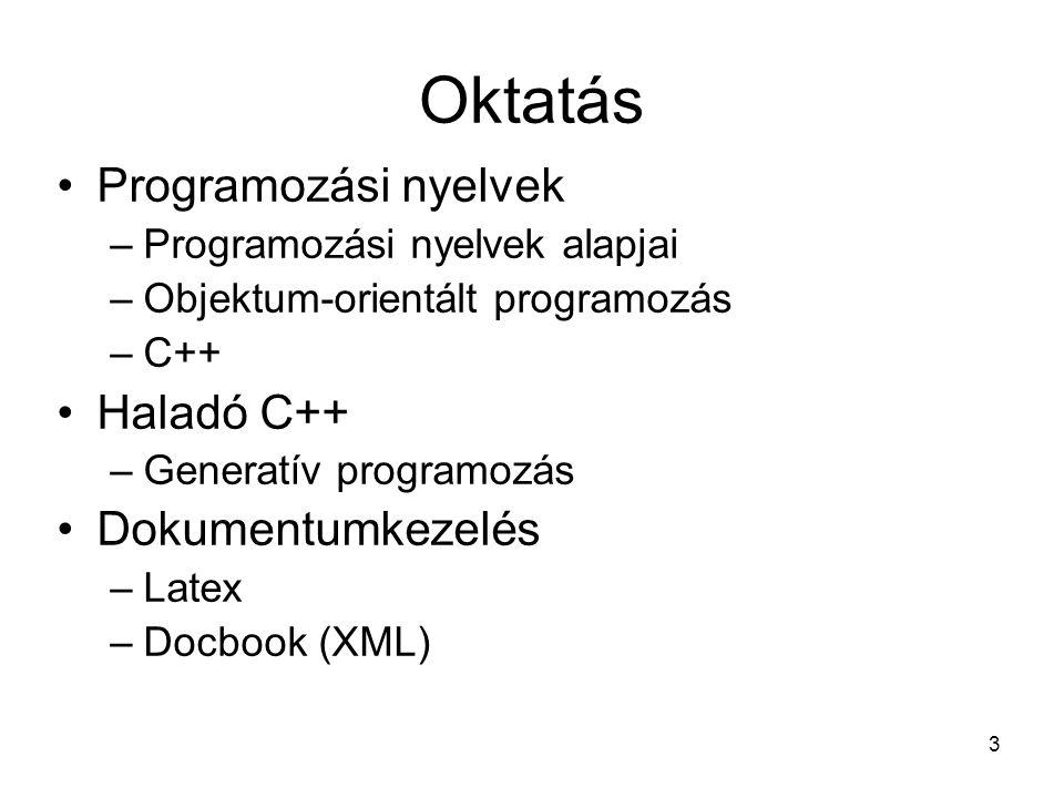 3 Oktatás Programozási nyelvek –Programozási nyelvek alapjai –Objektum-orientált programozás –C++ Haladó C++ –Generatív programozás Dokumentumkezelés –Latex –Docbook (XML)