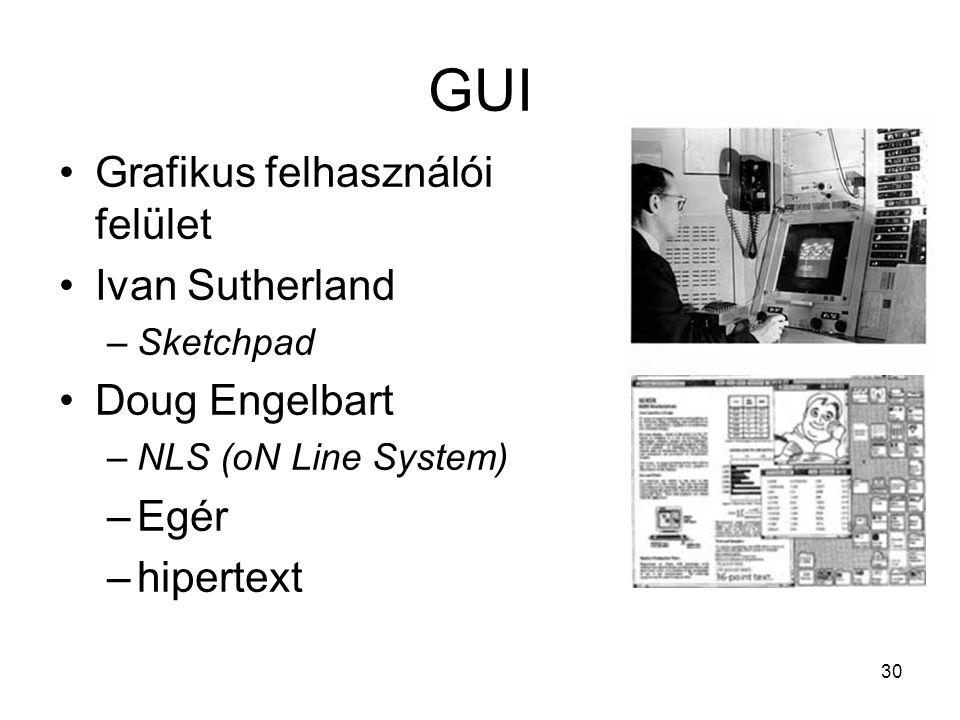 30 GUI Grafikus felhasználói felület Ivan Sutherland –Sketchpad Doug Engelbart –NLS (oN Line System) –Egér –hipertext
