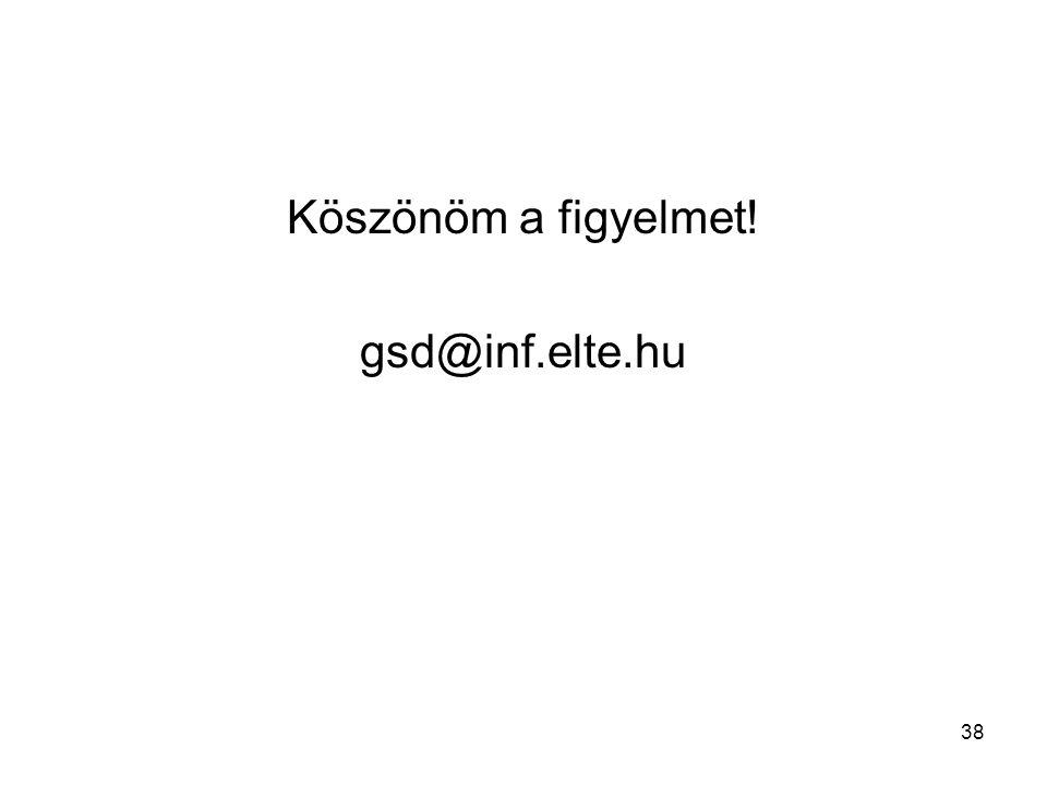 38 Köszönöm a figyelmet! gsd@inf.elte.hu