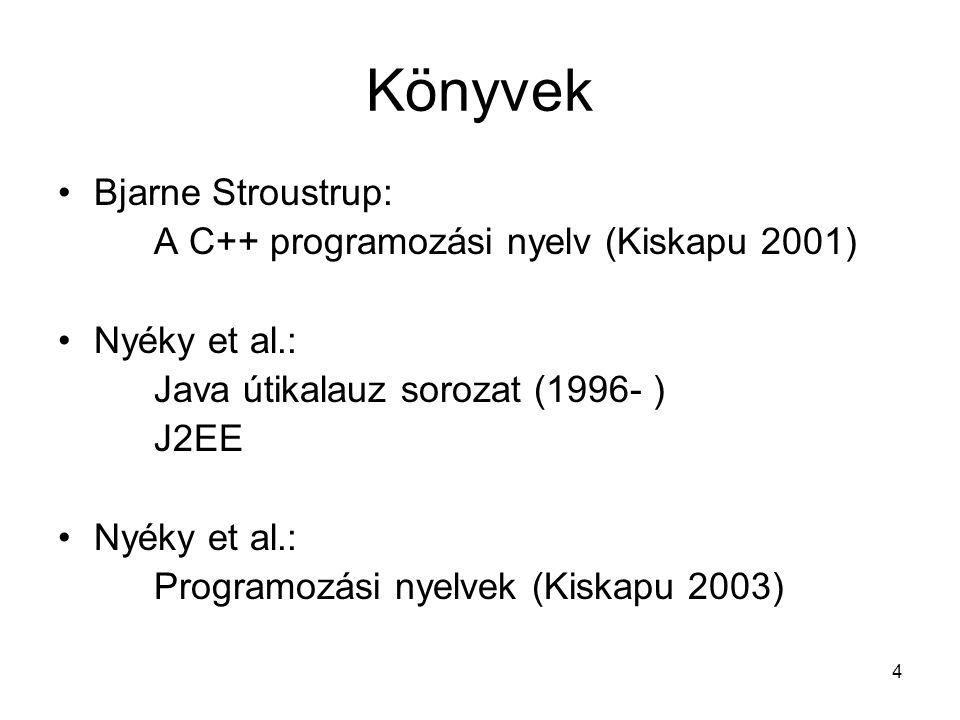 4 Könyvek Bjarne Stroustrup: A C++ programozási nyelv (Kiskapu 2001) Nyéky et al.: Java útikalauz sorozat (1996- ) J2EE Nyéky et al.: Programozási nyelvek (Kiskapu 2003)