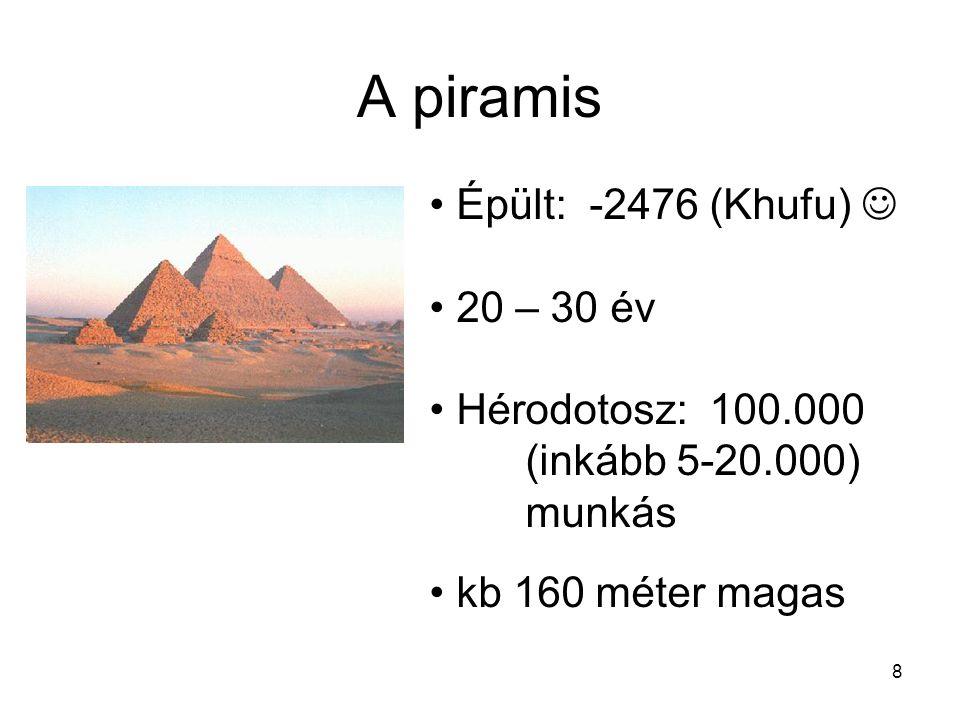8 A piramis Épült: -2476 (Khufu) 20 – 30 év Hérodotosz: 100.000 (inkább 5-20.000) munkás kb 160 méter magas