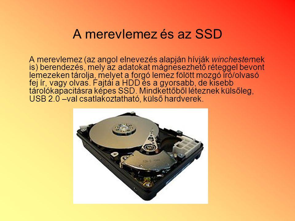 A merevlemez és az SSD A merevlemez (az angol elnevezés alapján hívják winchesternek is) berendezés, mely az adatokat mágnesezhető réteggel bevont lemezeken tárolja, melyet a forgó lemez fölött mozgó író/olvasó fej ír, vagy olvas.