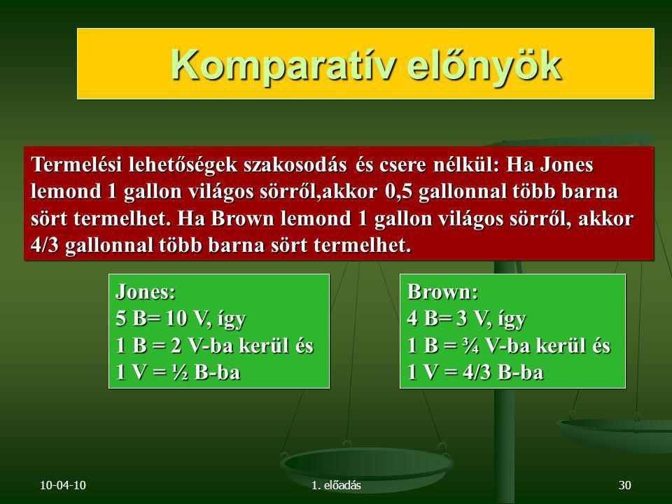 10-04-101. előadás30 Jones: 5 B= 10 V, így 1 B = 2 V-ba kerül és 1 V = ½ B-ba Jones: 5 B= 10 V, így 1 B = 2 V-ba kerül és 1 V = ½ B-ba Brown: 4 B= 3 V