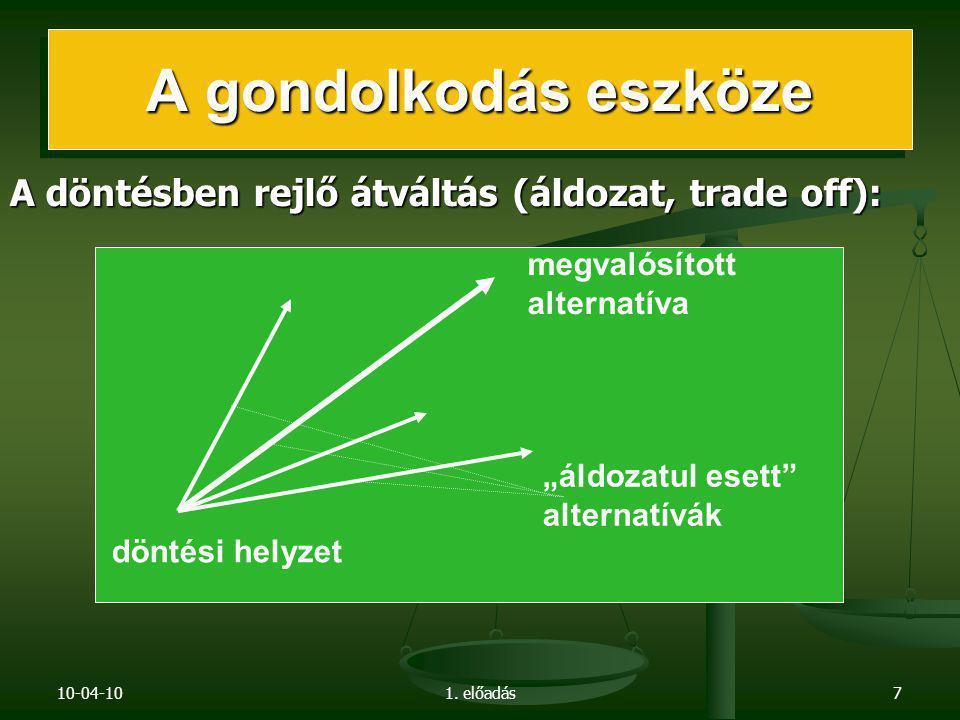 """10-04-101. előadás7 A döntésben rejlő átváltás (áldozat, trade off): megvalósított alternatíva """"áldozatul esett"""" alternatívák döntési helyzet"""