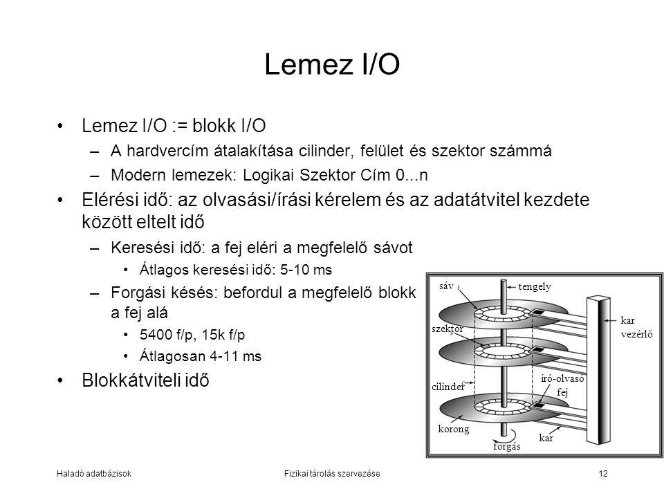 Haladó adatbázisokFizikai tárolás szervezése12 Lemez I/O := blokk I/O –A hardvercím átalakítása cilinder, felület és szektor számmá –Modern lemezek: L