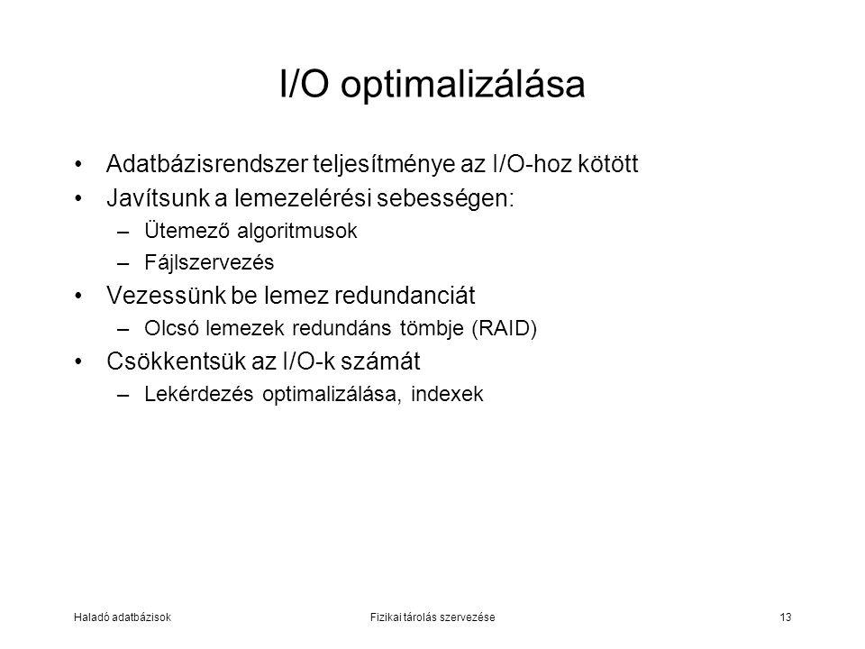 Haladó adatbázisokFizikai tárolás szervezése13 I/O optimalizálása Adatbázisrendszer teljesítménye az I/O-hoz kötött Javítsunk a lemezelérési sebessége