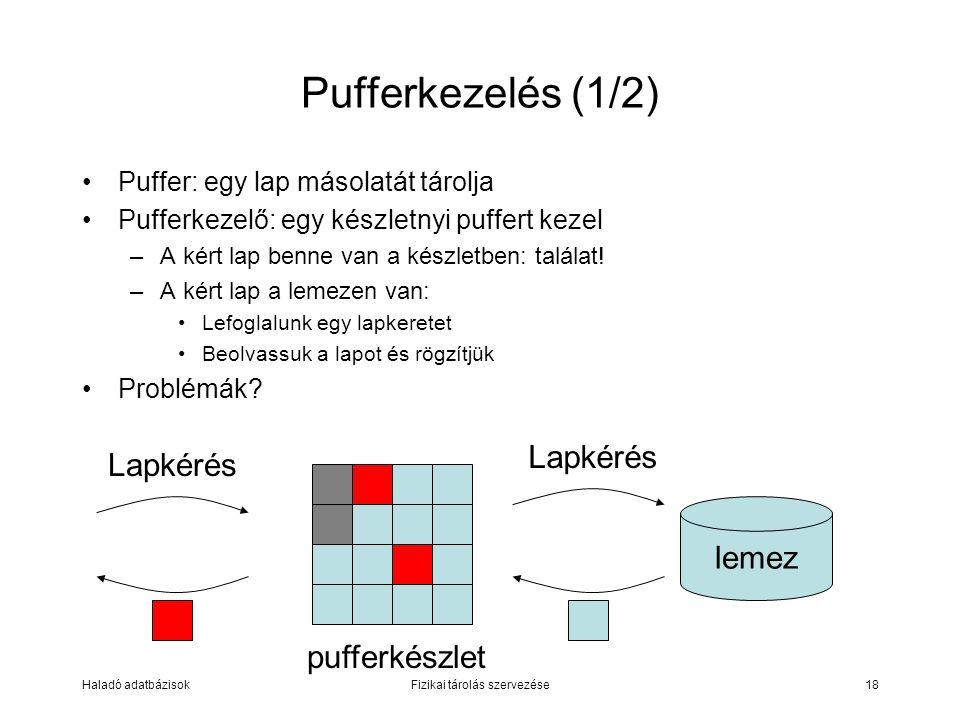 Puffer: egy lap másolatát tárolja Pufferkezelő: egy készletnyi puffert kezel –A kért lap benne van a készletben: találat! –A kért lap a lemezen van: L
