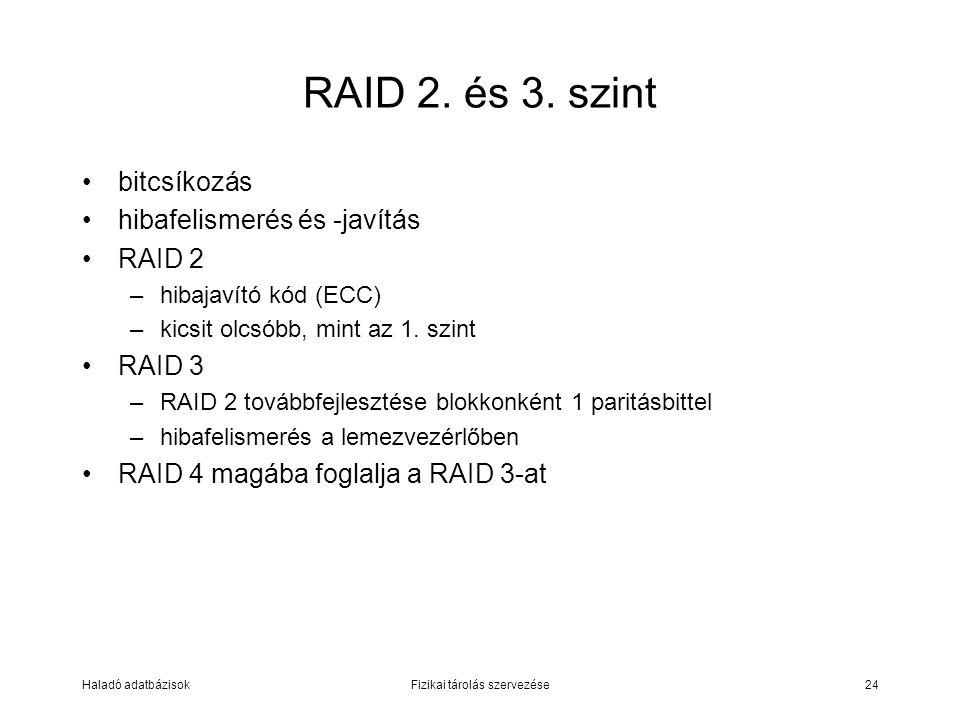 Haladó adatbázisokFizikai tárolás szervezése24 RAID 2. és 3. szint bitcsíkozás hibafelismerés és -javítás RAID 2 –hibajavító kód (ECC) –kicsit olcsóbb