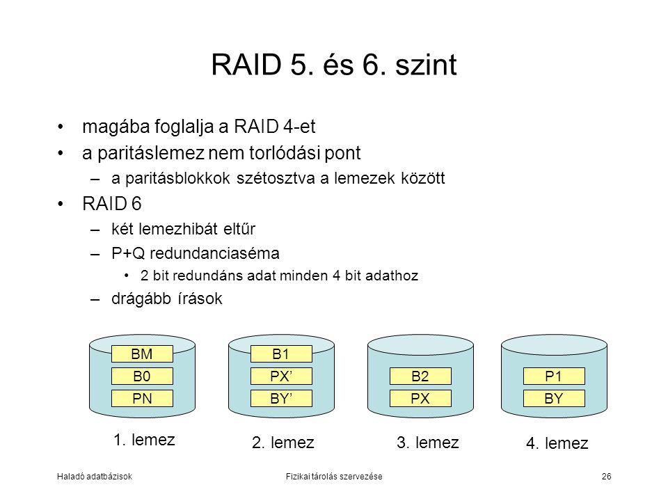 Haladó adatbázisokFizikai tárolás szervezése26 RAID 5. és 6. szint magába foglalja a RAID 4-et a paritáslemez nem torlódási pont –a paritásblokkok szé