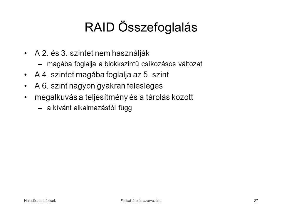 Haladó adatbázisokFizikai tárolás szervezése27 RAID Összefoglalás A 2. és 3. szintet nem használják –magába foglalja a blokkszintű csíkozásos változat