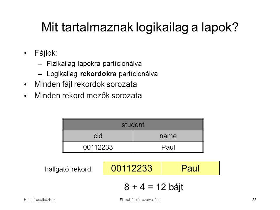 Haladó adatbázisokFizikai tárolás szervezése28 Mit tartalmaznak logikailag a lapok? Fájlok: –Fizikailag lapokra partícionálva –Logikailag rekordokra p