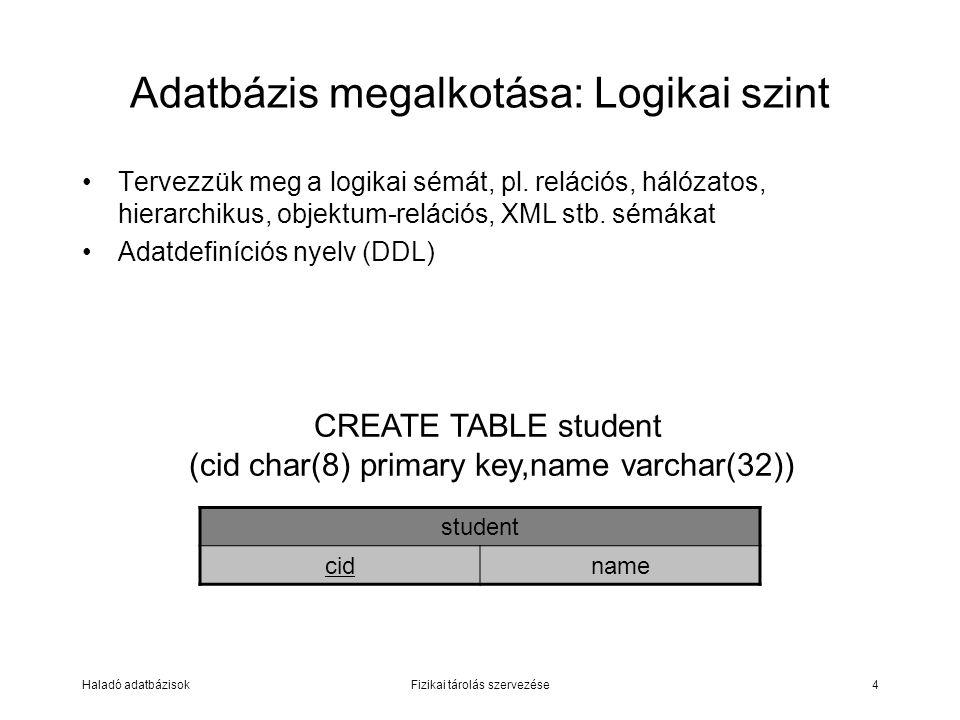 Haladó adatbázisokFizikai tárolás szervezése4 Adatbázis megalkotása: Logikai szint Tervezzük meg a logikai sémát, pl. relációs, hálózatos, hierarchiku