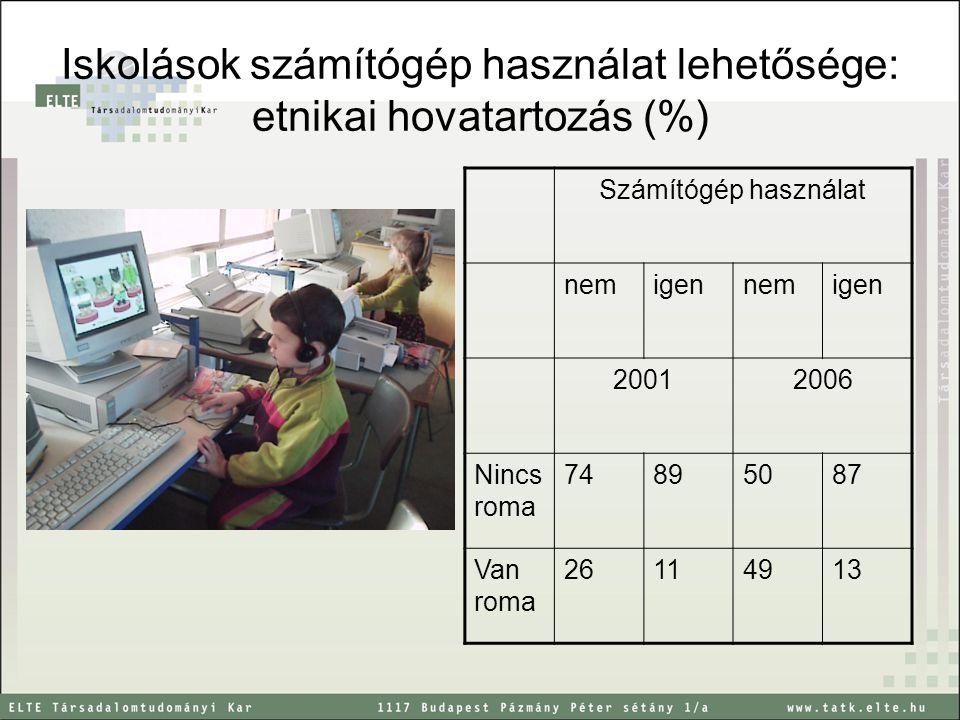 Iskolások számítógép használat lehetősége: etnikai hovatartozás (%) g Számítógép használat nemigennemigen 20012006 Nincs roma 74895087 Van roma 26114913