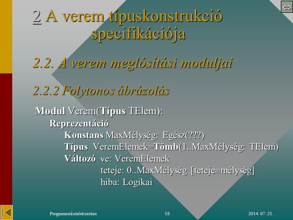  2014. 07. 21.Programozásmódszertan18 22 A verem típuskonstrukció specifikációja 2.2.