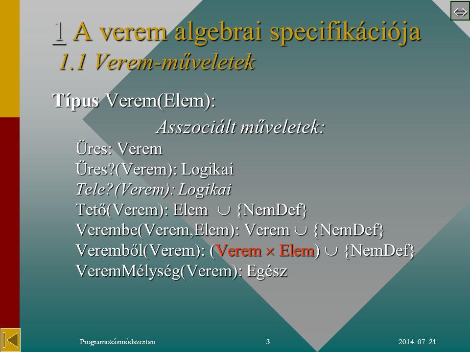  2014.07. 21.Programozásmódszertan4 1.21.2 Verem-axiómák 1.2 Axiómák: 1 o Az Üres verem üres.