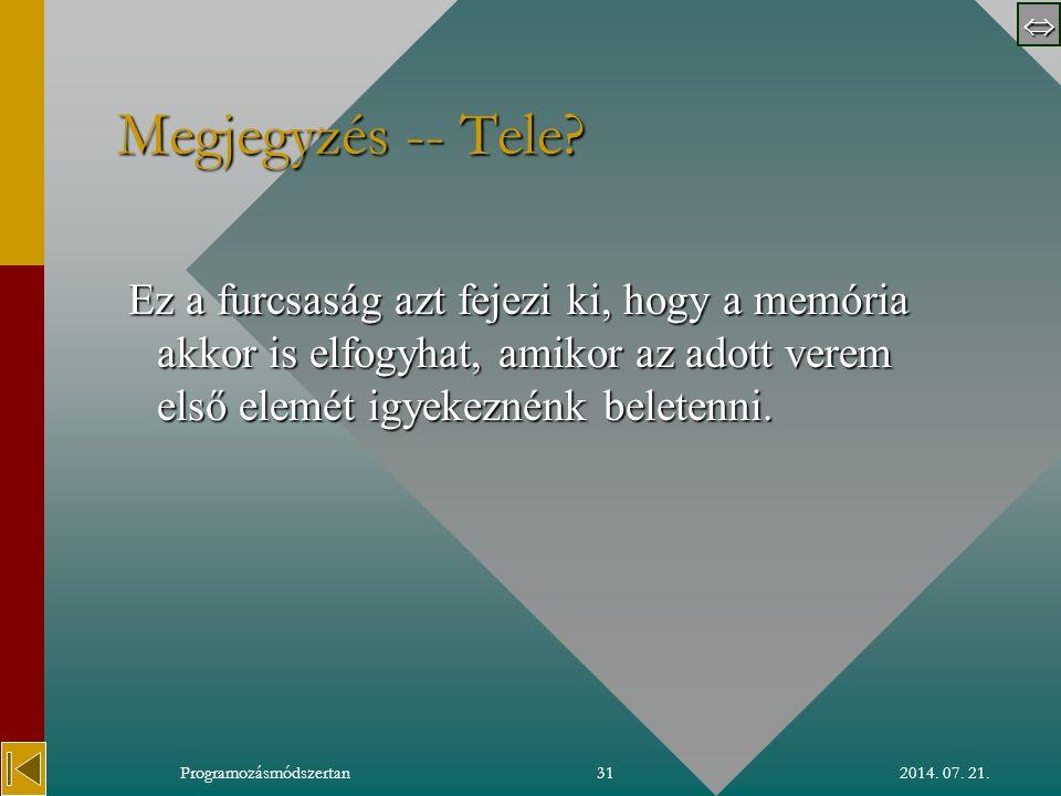  2014. 07. 21.Programozásmódszertan31 Megjegyzés -- Tele.