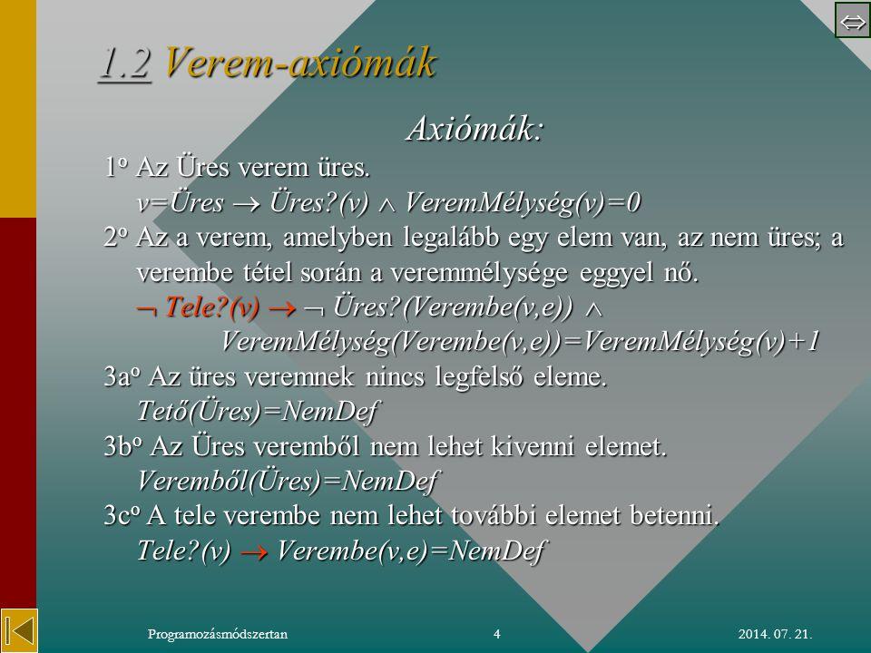  2014. 07. 21.Programozásmódszertan4 1.21.2 Verem-axiómák 1.2 Axiómák: 1 o Az Üres verem üres.