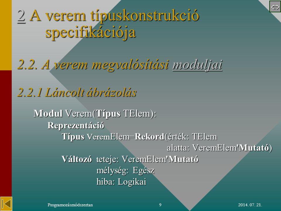  2014. 07. 21.Programozásmódszertan9 22 A verem típuskonstrukció specifikációja 2.2.