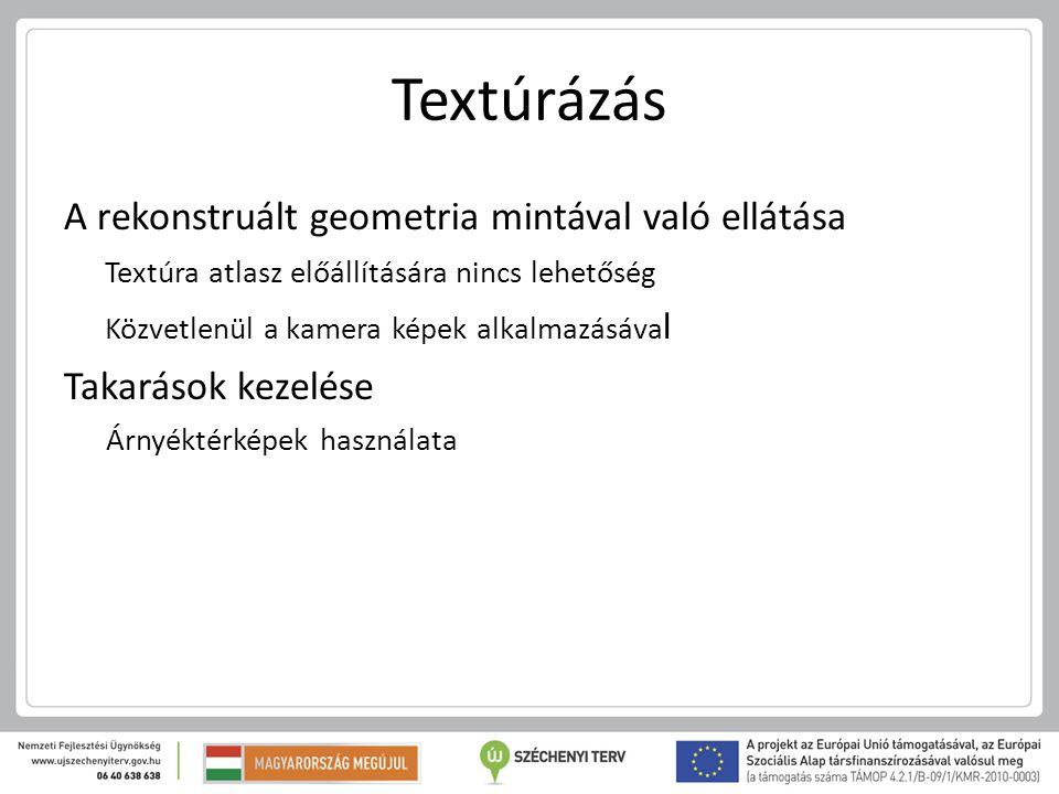Textúrázás A rekonstruált geometria mintával való ellátása Textúra atlasz előállítására nincs lehetőség Közvetlenül a kamera képek alkalmazásáva l Tak